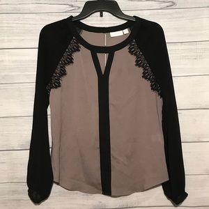 New York & Co Gray and Black Sheer Sleeve Blouse